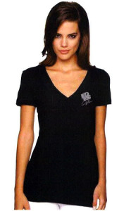 Womans Black V-Neck Front